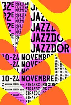 """""""Jazzdor"""" Strasbourg (32e) festival jazz poster/affiche (2017) by Helmo (Thomas Couderc et Clément Vauchez)"""