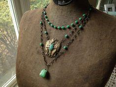 Egyptian Revival Beetle Scarab Vintage Assemblage Necklace N123