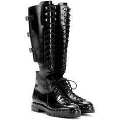 Valentino Valentino Garavani Rockstud Leather Boots (€2.170) ❤ liked on Polyvore featuring shoes, boots, black, black leather boots, real leather shoes, genuine leather boots, leather footwear and leather boots