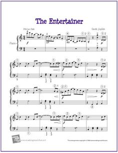 The Entertainer (Joplin) | Printable Sheet Music for Intermediate Piano Solo - http://makingmusicfun.net/htm/f_printit_free_printable_sheet_music/the-entertainer-level-five.htm