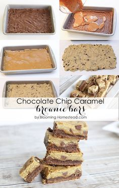Chocolate Chip Caramel Brownie Bars Recipe by Blooming Homestead