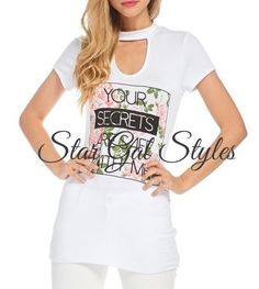Secret White French Terry Choker Neck Screen T-Shirt