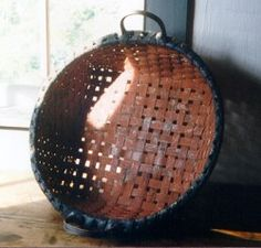 Large Square Round Basket with iron oxide and blue-black paint finish