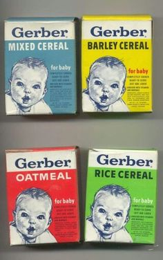VINTAGE GERBER CEREAL BOXES -  When I was little, I spilled Gerber cereal on living room rug and tried to clean it up with a wet rag.