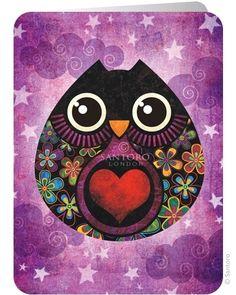 Santoro's Owl 2-osainen taitettava kortti. Postikortteja voidaan toimittaa maksimissaan 10kpl kirjetoimituksella 2,50e.