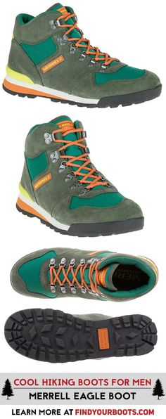 Retro hiking boots are back with the Merrell Eagle boot. Check out more cool hiking boots that made the list at https://www.findyourboots.com/stylish-hiking-boots-for-men