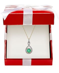 Emerald (3/8 ct. t.w.) and Diamond (1/4 ct. t.w.) Pendant Necklace 14k Gold