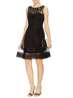Sequined Lace Sheath Dress with Illusion Skirt by Notte By Marchesa at Gilt