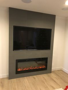 tiled fireplace with recessed tv