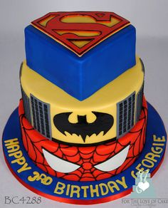 Super Heroes Cake - Made this cake for a client's son who loves Batman, Superman and Spiderman. Description from pinterest.com. I searched for this on bing.com/images