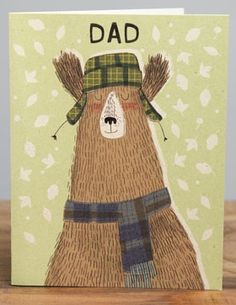 Dad | Red Cap Cards | Illustrated greeting card by Kate Hindley #bear #fathers #day