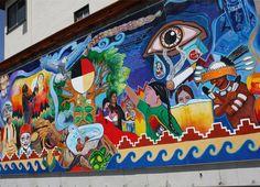 Located in Adam's Point off Grand Ave. September Lake Merritt, Oakland, CA. Graffiti Artwork, Street Art Graffiti, American Spirit, American Pride, 4th Grade Art, Love Fest, Native American Artists, Indigenous Art, Outdoor Art