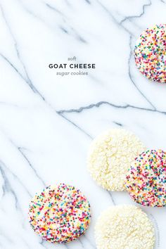These soft & chewy Goat Cheese Sugar Cookies are unexpectedly addicting. Plus, isn't everything better with sprinkles?