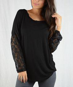 Black Lace-Sleeve Tunic #zulily #zulilyfinds