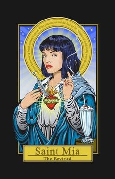 Saint Mia by Omakaselmages Saint Jules by OmakaselmagesSaint Mia by OmakaselmagesQuentin Tarantino – Mia WallaceMia and Sebastian's relationship evolution…mia wallace PostersSaint Baskerville Academy (Teenlock/Johnlock) Art Pop, Mia Wallace, Quentin Tarantino, Aesthetic Art, Dark Art, Art Inspo, Drawings, Illustration, Artwork