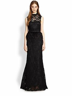 Alice+++Olivia Jessica+Beaded+Lace+&+Feather+Peplum+Gown