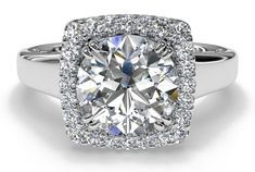 Use my stones I have, buy the band and two full channel wedding bands! - Your choice of round diamond rests in the center of this handcrafted cushion halo engagement ring. Engagement Ring Buying Guide, Engagement Rings Cushion, Halo Diamond Engagement Ring, The Bling Ring, Dream Ring, Beautiful Rings, Wedding Dress, Dream Wedding, Wedding Rings