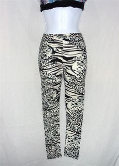 VIN&SUE BEACH FASHIONS BLACK LEOPARD SKIN PRINT PENCIL LEGGINGS SKINNY S/M PANTS #CYN