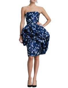 OSCAR DE LA RENTA Floral Bustled-Peplum Dress