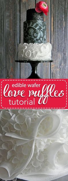 French Delicacies Essentials - Some Uncomplicated Strategies For Newbies Wafer Paper Love Ruffles Pdf Tutorial. Become familiar with This Fun And Simple Method With One Of The Most Easy To Use Cake Decorating Materials Out There: Wafer Paper Hot Fudge Cake, Hot Chocolate Fudge, Cake Pops, Lace Painting, Couture Cakes, Winter Desserts, Wedding Cake Designs, Wedding Cakes, Wafer Paper