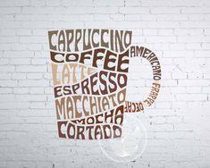 Digital Coffee Mug Word Art Coffee mug jpg png eps svg Coffee Typography, Coffee Logo, Typography Images, Lettering Design, Logo Design, Graphic Design, Beau Gif, Coffee Words, Word Art Design