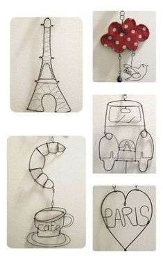 wire craft to make, not the only ones you can do. Wire Crafts, Metal Crafts, Diy And Crafts, Arts And Crafts, Sculptures Sur Fil, Wire Sculptures, Stylo 3d, Bijoux Fil Aluminium, Wire Hangers