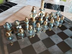 New bolts and nuts chess set and inox steel homemade corroded chessboard. No glue. No paint. No metal fusion.