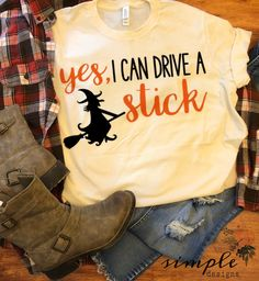 Yes I Can Drive a Stick Raglan, T-shirt, Fall, Halloween – Simple Designs and More