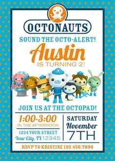 Octonauts Birthday Party Invitation - Octonauts Party - Turquoise, Navy, Orange…
