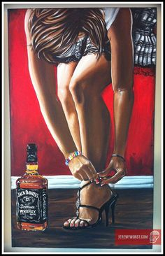 JEREMY WORST Straight Jack Daniels Original Artwork by JeremyWorst art painting drawing print jack daniels she squats bro sexy naked fitness workout Pub Vintage, Moda Vintage, Fantasy Anime, Whiskey Girl, Video X, Arte Pop, African American Art, Pin Up Art, Oeuvre D'art