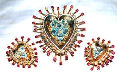 Sale Philippe Crown Trifari Sterling Rhinestone Atomic Heart Fur Clip Earrings | eBay