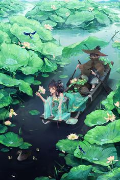 Anime picture with original coney long hair tall image short hair blue eyes black hair smile sitting looking away japanese clothes traditional clothes signed from above flying mountain hair bun (hair buns) wide sleeves outdoors on all fours Art Anime, Anime Kunst, Anime Art Girl, Manga Art, Anime Landscape, Fantasy Landscape, Landscape Art, Lotus Pond, Fantasy Kunst