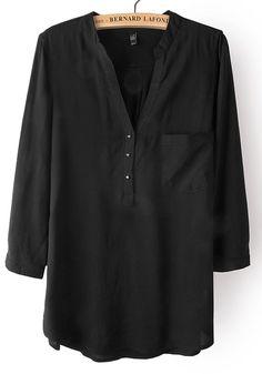 Black Plain Buttons Pockets V-neck Cotton Blend Blouse