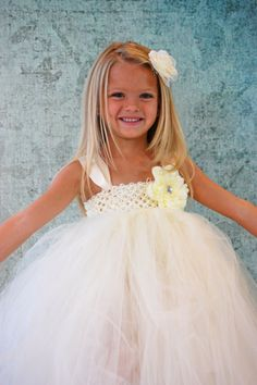 Flower Girl Dress?? Free Shipping to US Ivory Cream or White  Flower by PoshPixieTutu, $85.00