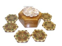 Vintage Coasters Set in Wooden Box with Shells by DouceBoutique