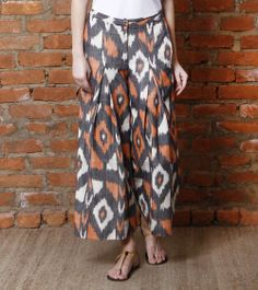Multicoloured Box Pleated Ikat Cotton Pants