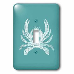 3dRose White crab etched teal turquoise aqua blue - nautical beach sea ocean, 2 Plug Outlet Cover