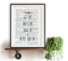 Positive devis impression typographie affiches jamais donner place plume ami Accueil décor mention manuscrite livre vintage page Noël cadeau pour elle