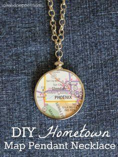 DIY Hometown Map Pendant Necklace