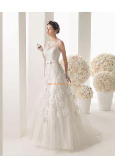 Robe de mariée glamour dentelle tulle avec ruban