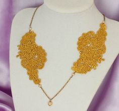 Golden Venice Lace Necklace Bronze Necklace Gold by OliniLaces, $24.00