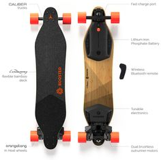 Boosted Board: lightweight, electric skateboard. 90 mins to charge. weighs 15lbs. 6 mile range. 20mph top speed.