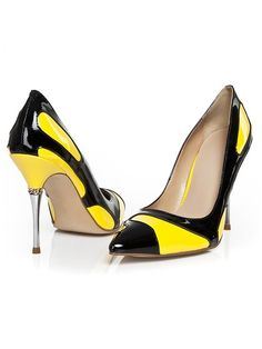 Yellow And Black Pointed Leather Pumps | Choies