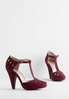 Dynamic Debut Heel in Burgundy. You knock on the door of the soiree, prepared to make quite the entrance in these snazzy, vegan faux-suede heels! #red #wedding #modcloth