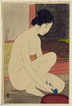 """arsvitaest: """" Hashiguchi Goyō, Woman after a Bath, 1915 Woodblock print """""""