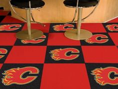 NHL Officially licensed products Calgary Flames Carpet Tiles Want to show off your team pride in a big way? Carpet Tiles are great for Man Caves, game Carpet Tiles, Rugs On Carpet, Floor Rugs, Tile Floor, Edmonton Oilers, Calgary, Nhl, Flooring, Home Decor