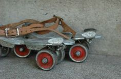 Strap on skates! Just like my first pair...which I loved.  Had a little metal key to tighten them onto your shoes.