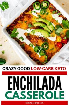 This easy Keto Enchilada Casserole comes together in the time it would take you to run to the store for a frozen entree. With creamy sour cream and diced green chilis, you are going to love this healthy low carb option. #kickingcarbs #lowcarbrecipes #keto #chicken #dinner #casserole