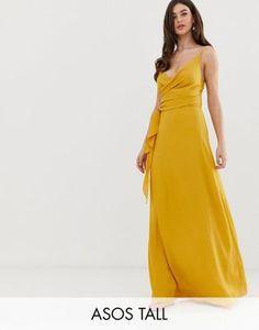 db06a05cb Vestido largo cruzado estilo camisola con lazada en la cintura de ASOS  DESIGN Tall
