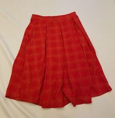 094b400d20c LuLaRoe Flowy Skirt Sz XS red orange plaid textured stretchy casual  comfortable